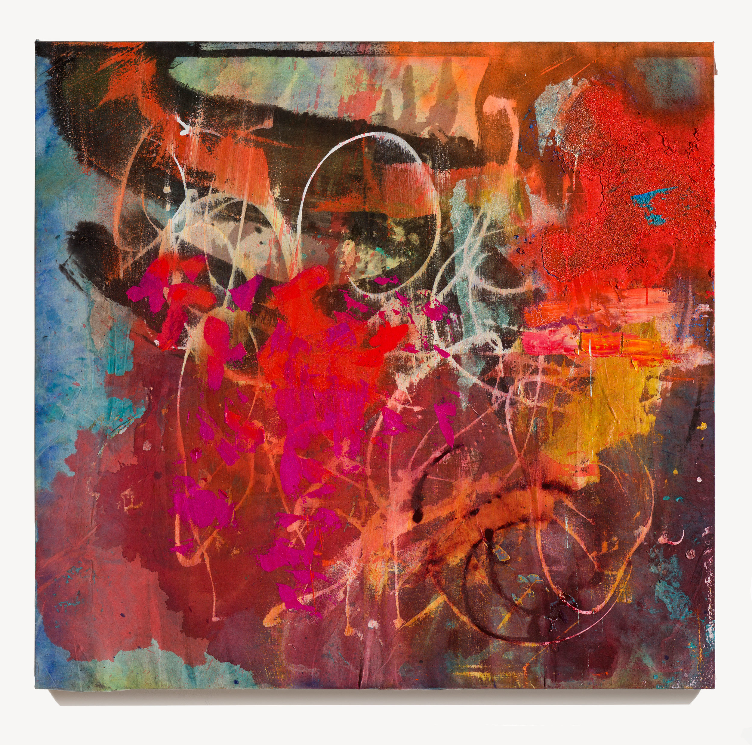 Alexander Kroll, Knotted, 2016 oil, acrylic and oil pastel on canvas drop cloth (with red wine stain) 152,5 x 160 cm - 60 x 63 inches