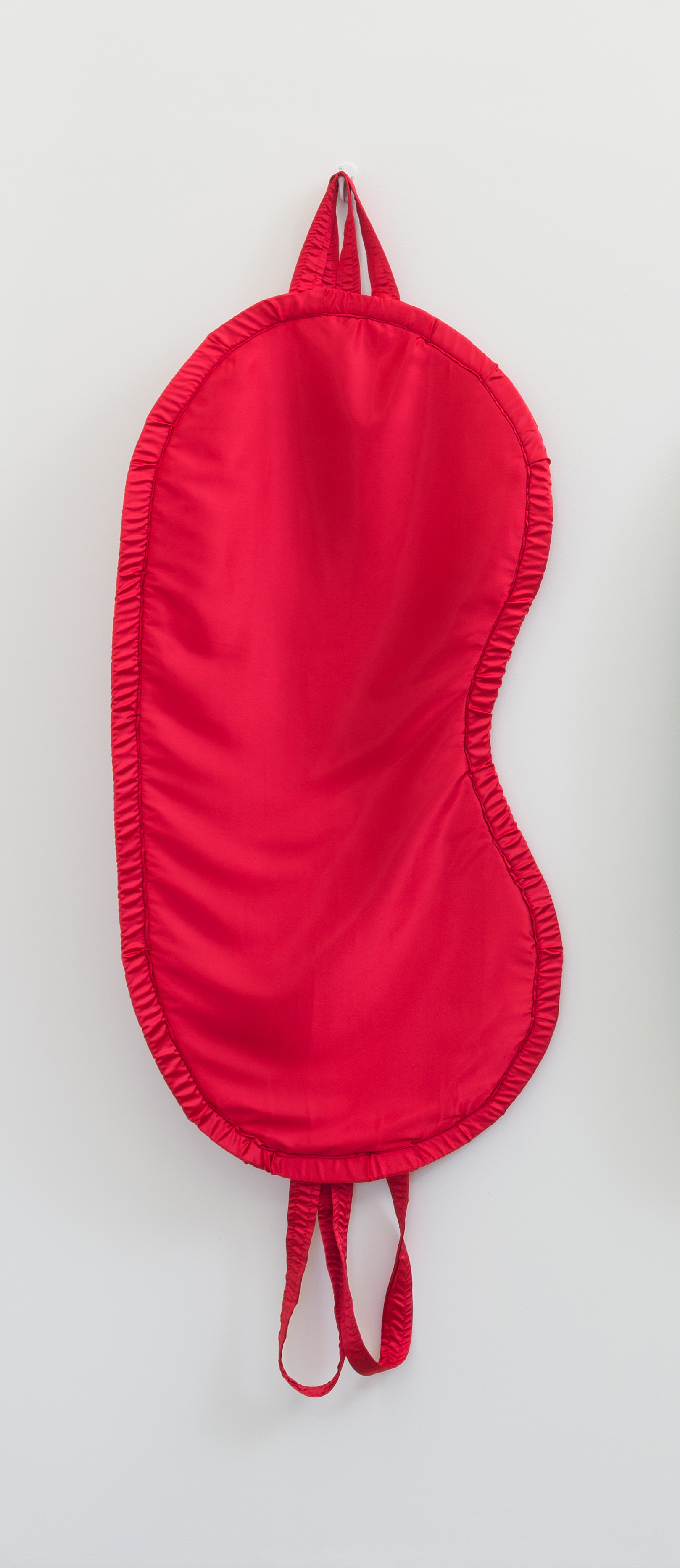 Amanda Ross-Ho, Untitled Apparatus (RED), 2017 satin, foam, elastic, thread 190 x 71 x 5 cm - 74 3/4 x 28 x 2 inches