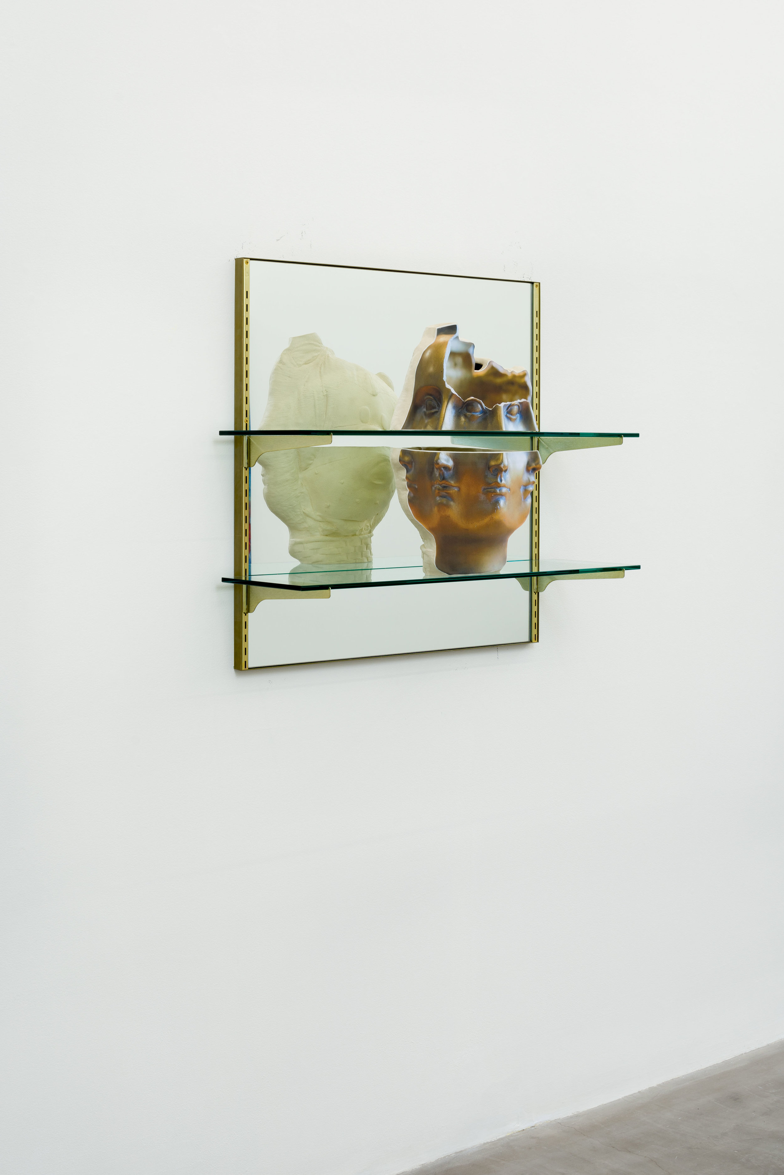 Ry Rocklen, Picnic with Janus, 2017 ceramic with shelve, mirror and frame 78,5 x 78,5 x 25,5 cm - 30 7/8 x 30 7/8 x 10 inches