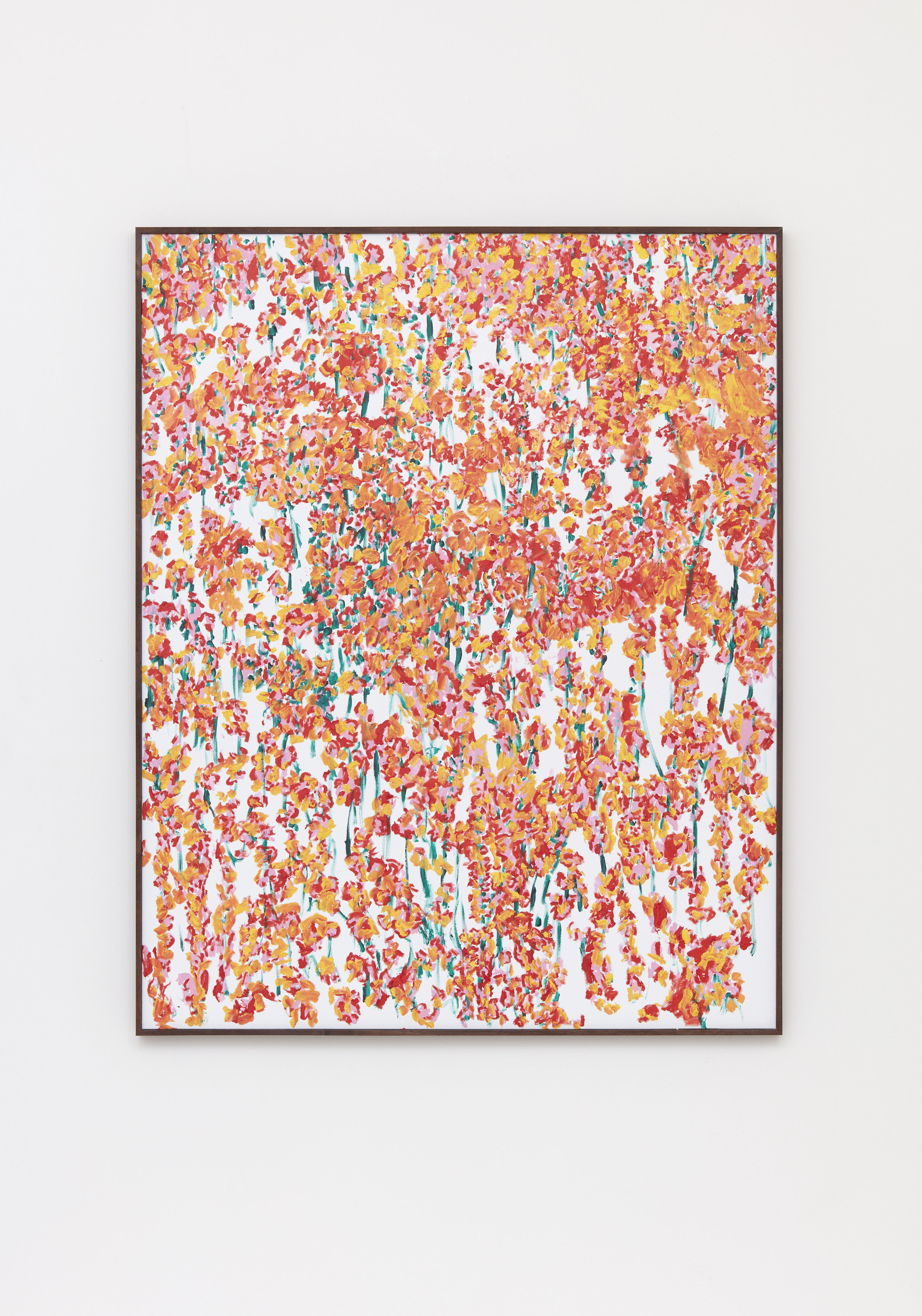 Eating The Color Off Everything, 2017 oil and acrylic on canvas in artist made walnut frame 155 x 124,5 cm - 61 1/32 x 49 1/32 inches
