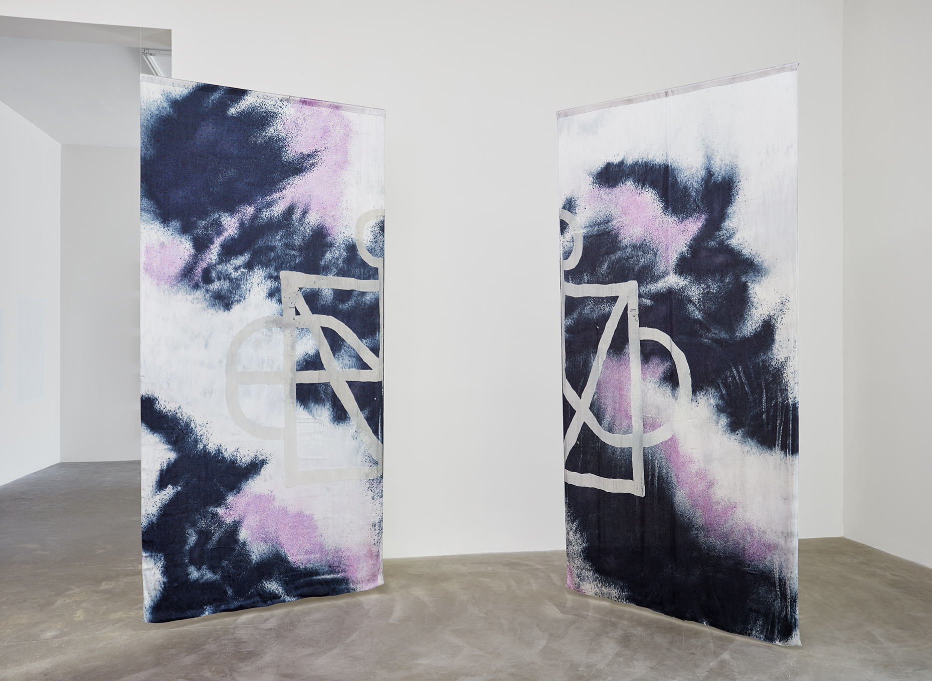 AA Bronson & Richard John Jones, Flesh of Our Flesh (Curtains), 2014 silk, viscose, polyester dévoré. 6 elements 280 x 260 cm - 110 1/4 x 102 3/8 inches (each)