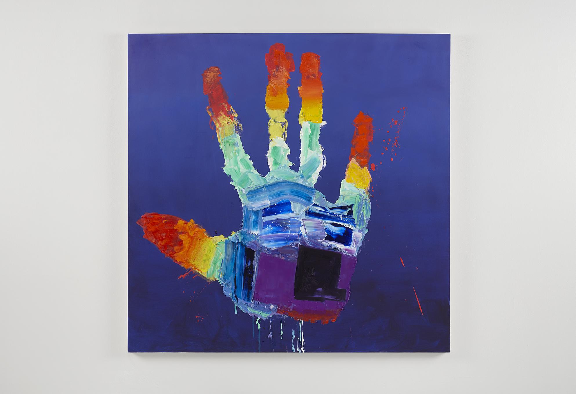 Alexander Kroll, Rainbow super power hand, 2017 oil on canvas 152,4 x 152,4 cm - 60 x 60 inches