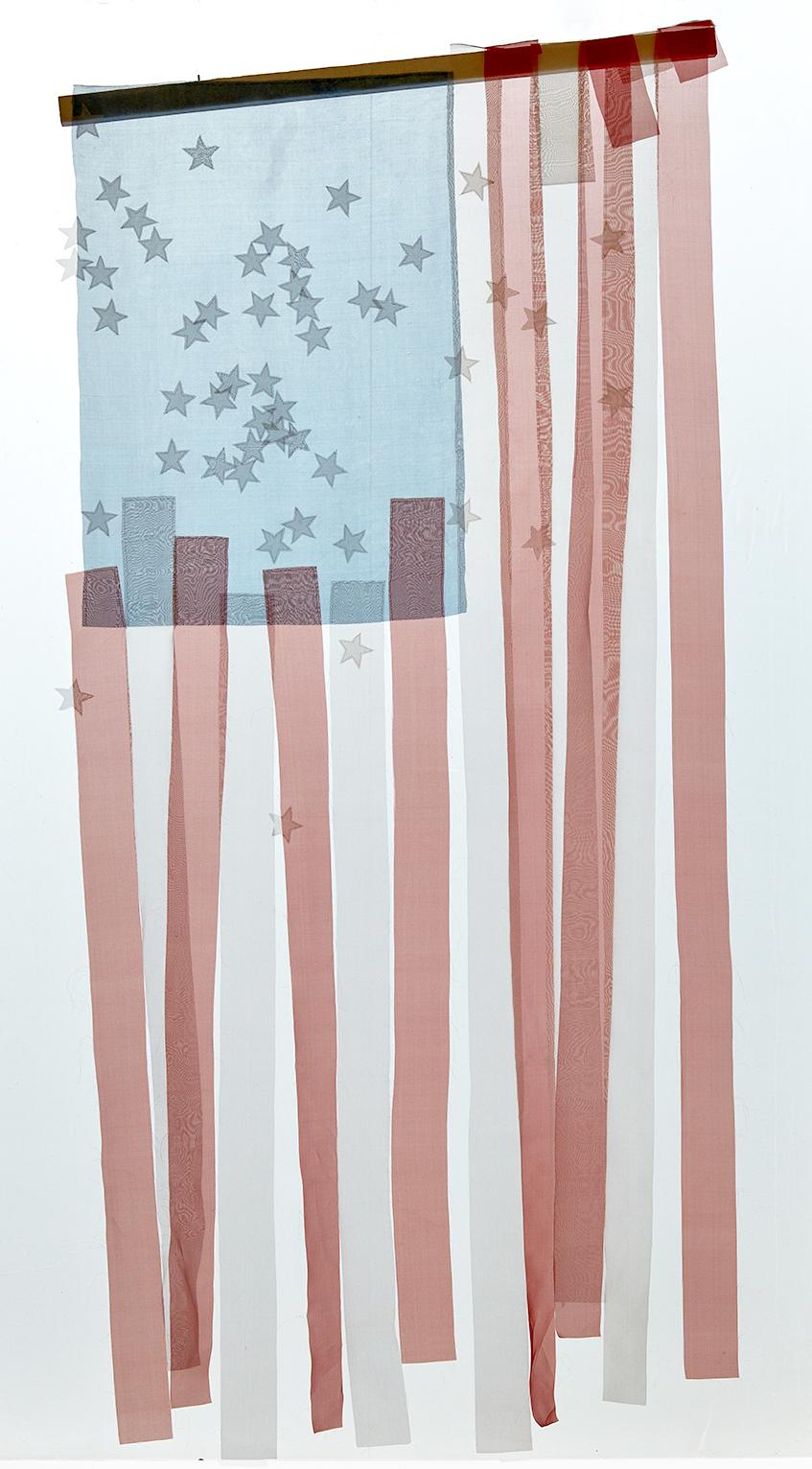 George Stoll, Untitled (dropped American flag #4), 2017 silk organza, silk thread, felt, plywood and paint 261,6 x 109 cm - 103 x 43 inches
