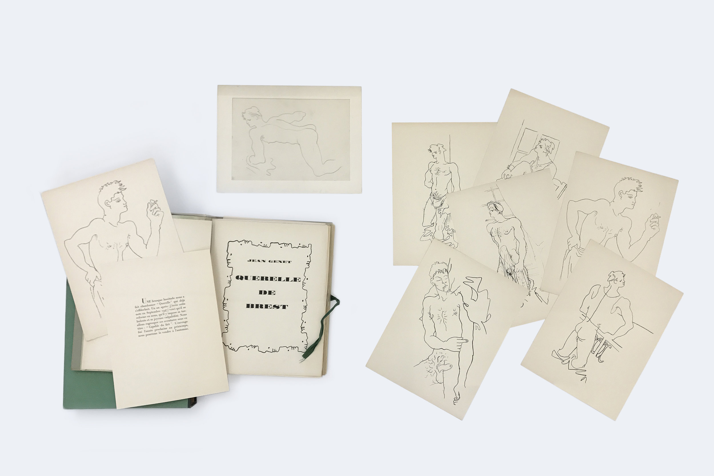 Jean Genet, Querelle de Brest, 1948 text from Jean Genet illustrated by Jean Cocteau on vellum. accompanied by an original pencil drawing and a suite of 29 illustrations in cloth bound green book-case edition of 15 32,5 x 25 x 5 cm - 12 25/32 x 9 27/32 x 1 31/32 inches