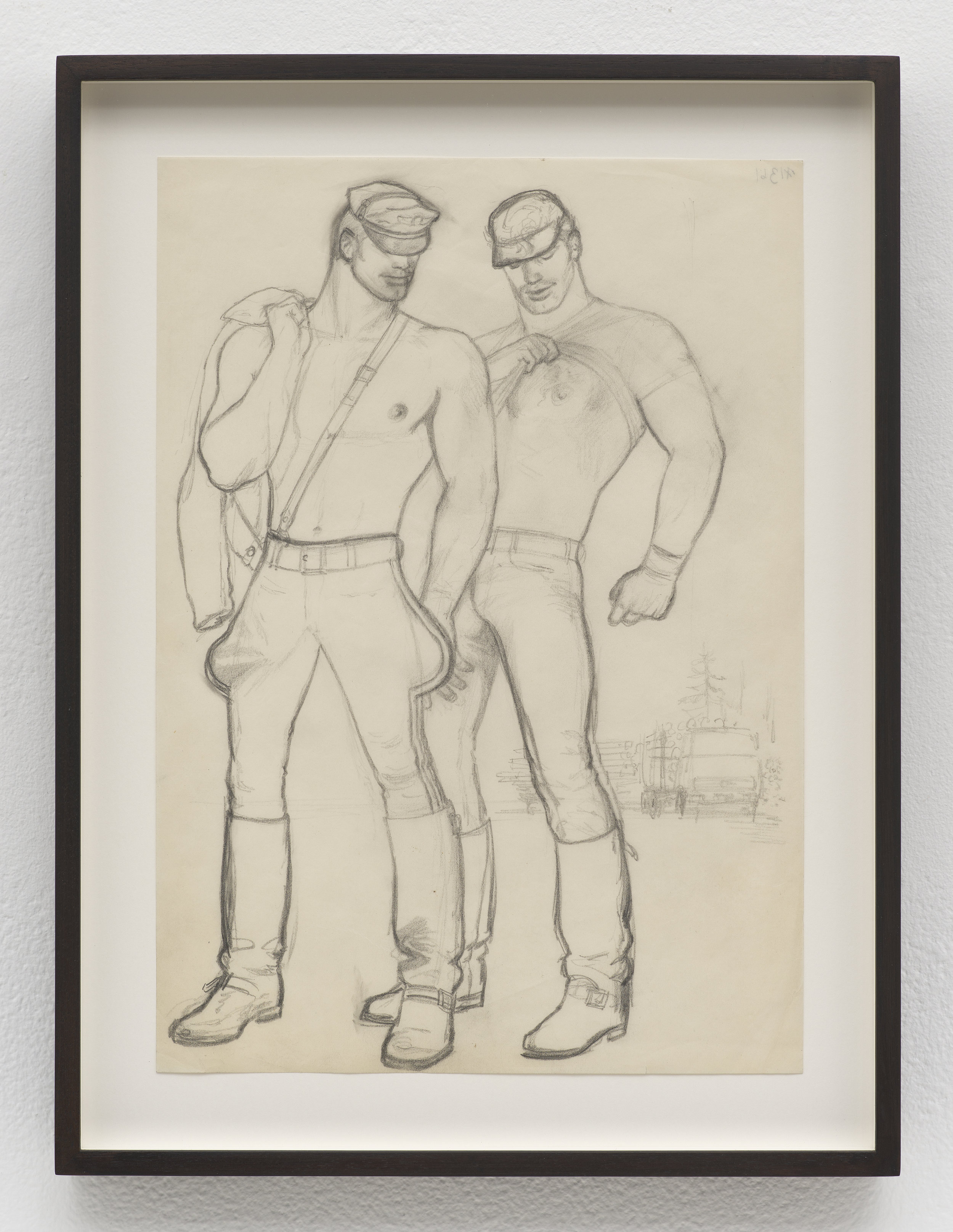 Tom Of Finland, Untitled (preparatory drawing), 1975 graphite on paper 36 x 27,3 cm - 14 1/4 x 10 3/4 inches (framed)