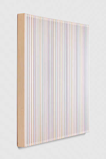 Untitled (Pastel band and hovering thread), 2017 single-strand rayon thread on vertical grain oak 91,5 x 91,5 cm - 36 x 36 inches