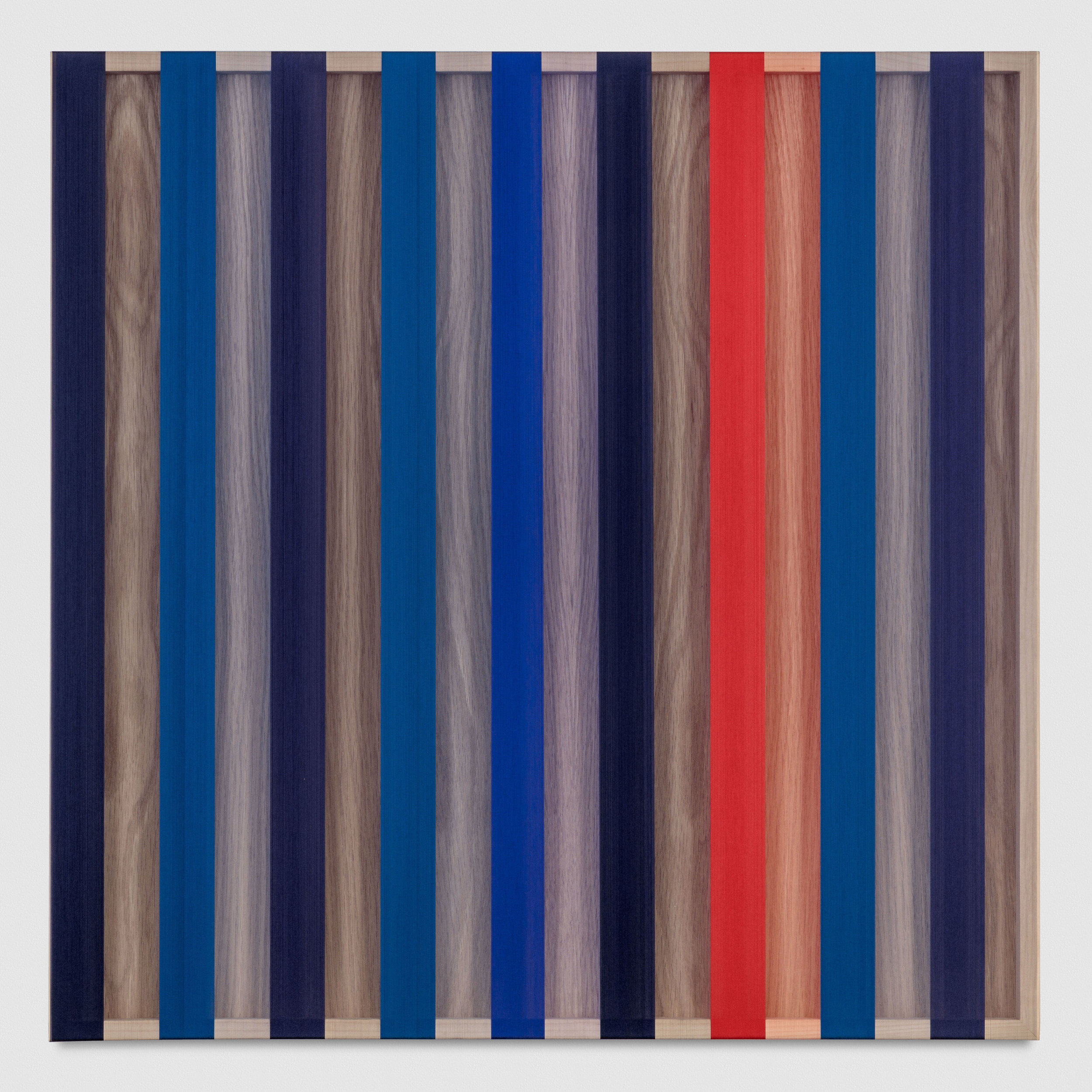 Untitled (Red and Blue banded hovering thread), 2017 single-strand rayon thread on vertical grain oak 91,5 x 91,5 cm - 36 x 36 inches