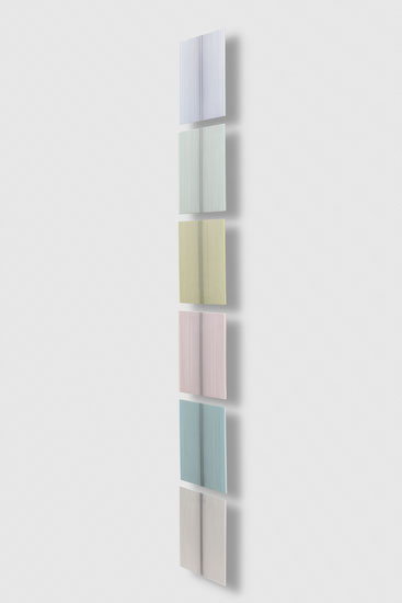 Untitled (Vertical Stack), 2017 single-strand rayon and metallic thread on wood, 6 panels 30,5 x 30,5 cm - 12 x 12 inches (each)