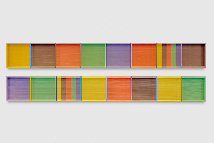 Untitled (Primary Dyptych), 2017 single-strand rayon thread on vertical grain oak, 2 panels 30,5 x 244 cm - 12 x 96 inches (each)
