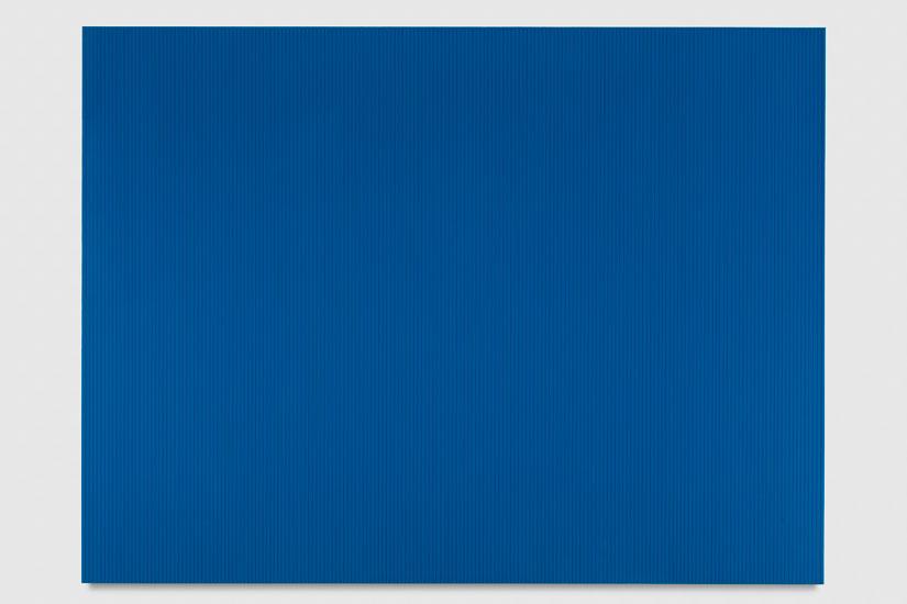 Untitled (Peacock Blue Polyurethane), 2017 enamel, single-strand rayon thread and linear polyurethane on wood 91,5 x 122 cm - 36 x 48 inches