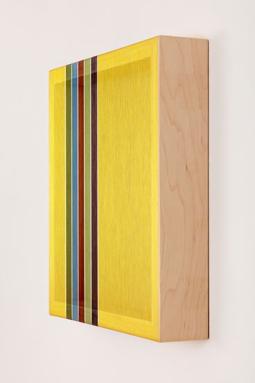 Untitled (Yellow Hovering Thread), 2017 single-strand rayon and metallic thread on vertical grain oak 30,5 x 30,5 cm - 12 x 12 inches