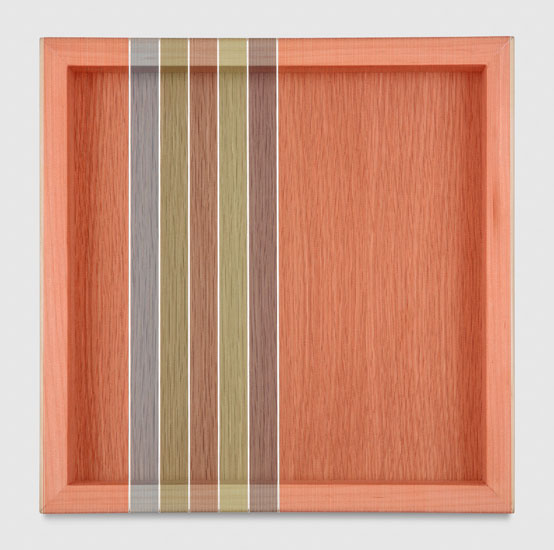 Untitled (Tomato Red Hovering Thread), 2017 single-strand rayon and metallic thread on vertical grain oak 30,5 x 30,5 cm - 12 x 12 inches