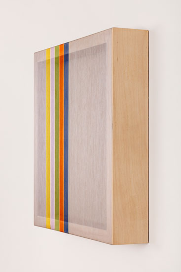 Untitled (Grey Hovering Thread), 2017 single-strand rayon and metallic thread on vertical grain oak 30,5 x 30,5 cm - 12 x 12 inches