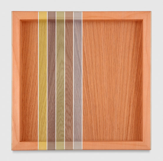 Untitled (Orange Hovering Thread), 2017 single-strand rayon and metallic thread on vertical grain oak 30,5 x 30,5 cm - 12 x 12 inches