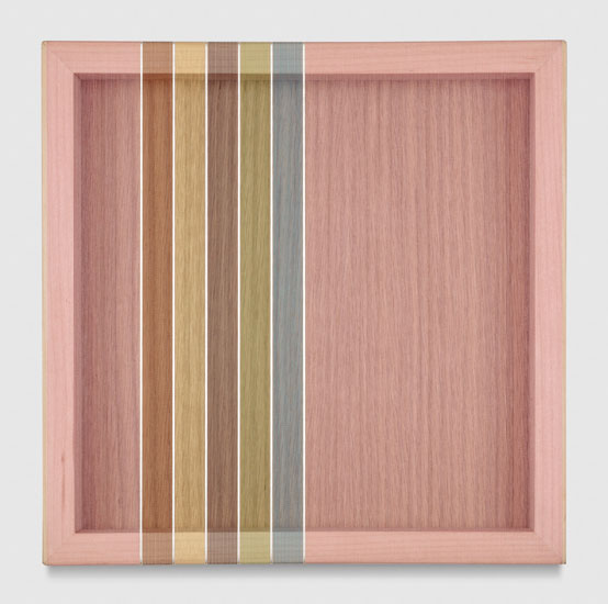 Untitled (Pink Hovering Thread), 2017 single-strand rayon and metallic thread on vertical grain oak 30,5 x 30,5 cm - 12 x 12 inches
