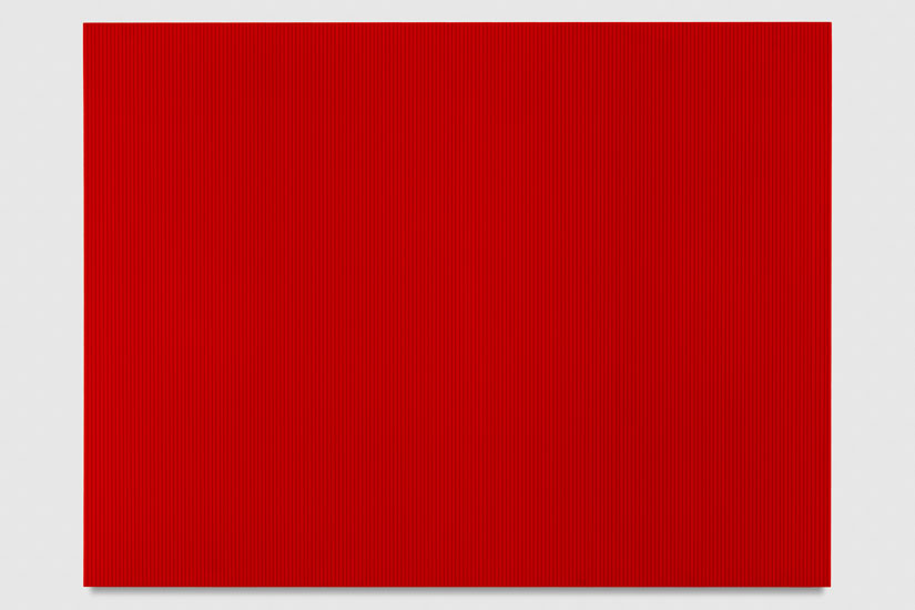Untitled (Fire Red Polyurethane), 2017 enamel, single-strand rayon thread and linear polyurethane on wood 91,5 x 122 cm - 36 x 48 inches