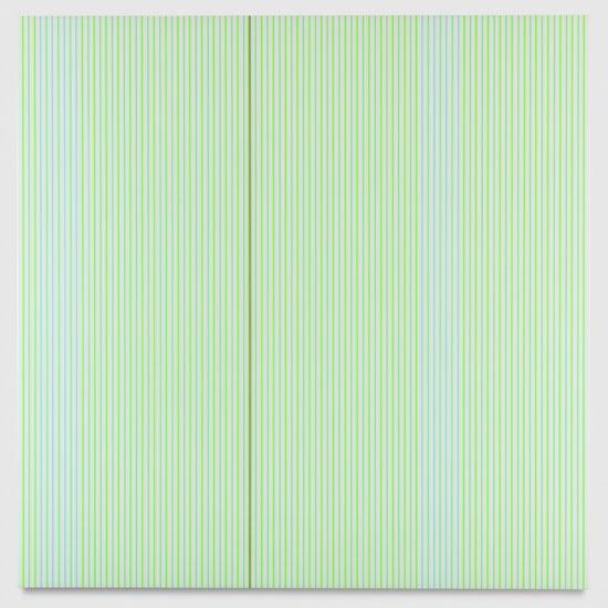 Untitled (White and Neon Green Polyurethane), 2017 enamel, single-strand rayon thread and linear polyurethane on wood 122 x 122 cm - 48 x 48 inches