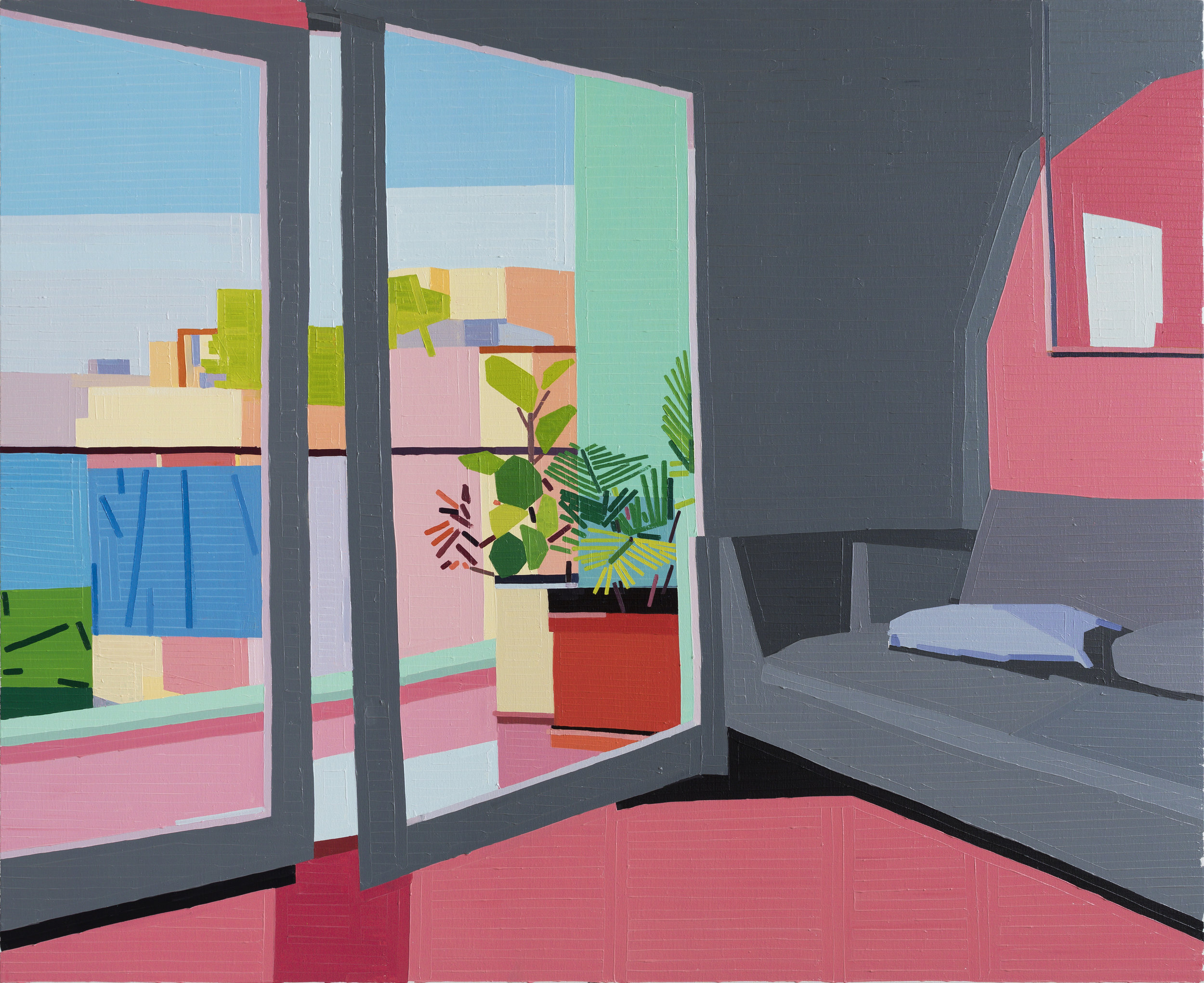 Grey Sofa (Barbarian In The Garden), 2017 oil on linen 150 x 180 cm - 59 1/16 x 70 7/8 inches