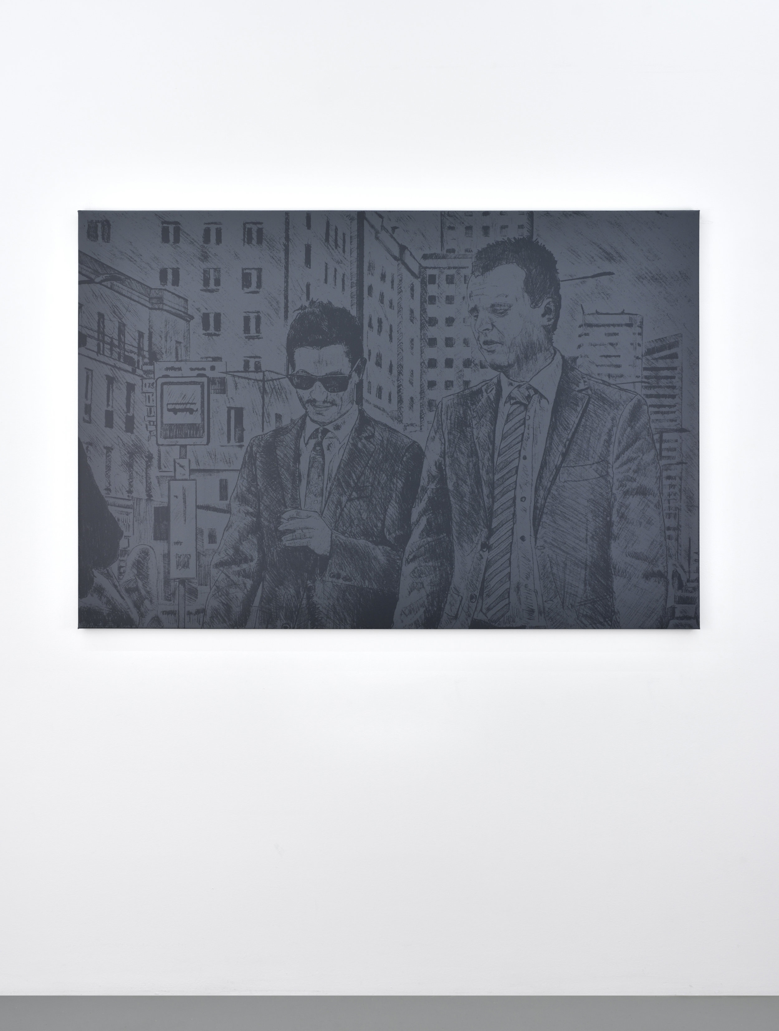 Untitled (two men), 2017 silkscreen on canvas 106,7 x 158,7 cm - 42 x 62 1/2 inches