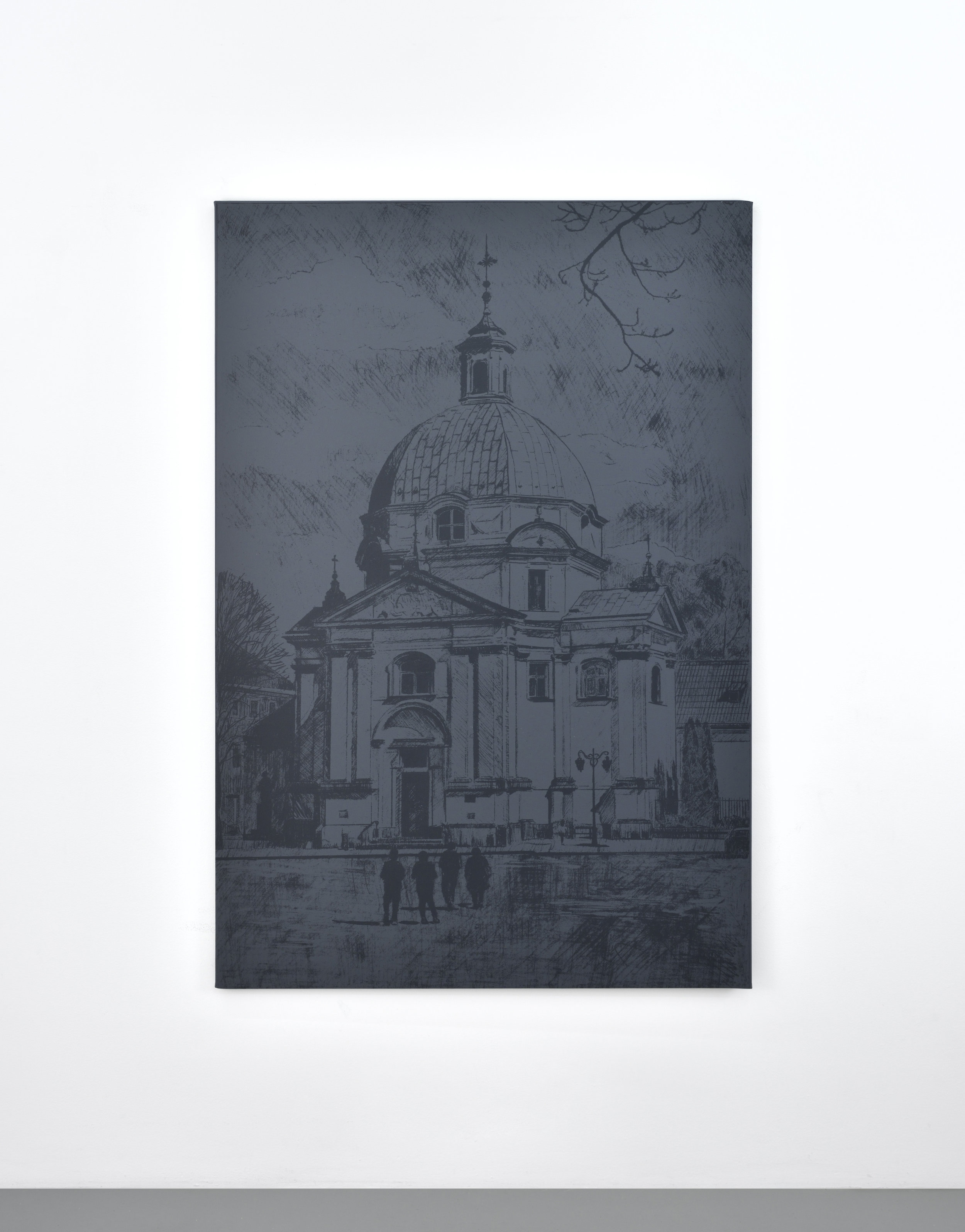 Untitled (church), 2017 silkscreen on canvas 159 x 106,7 cm - 62 5/8 x 42 inches