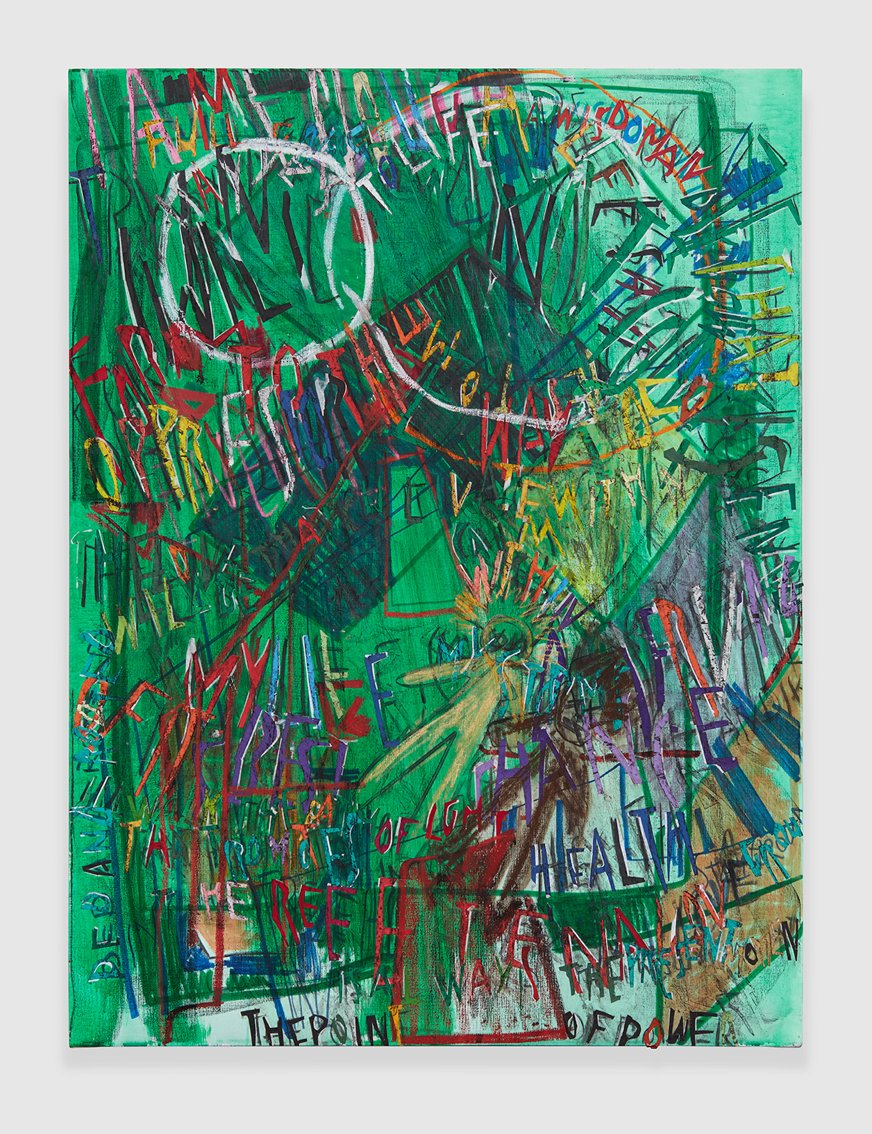 RGB Affirmations (Green) , 2018 acrylic, marker, oil stick, oil, charcoal and paper collage on linen 48 x 36 in - 121,9 x 91,4 cm