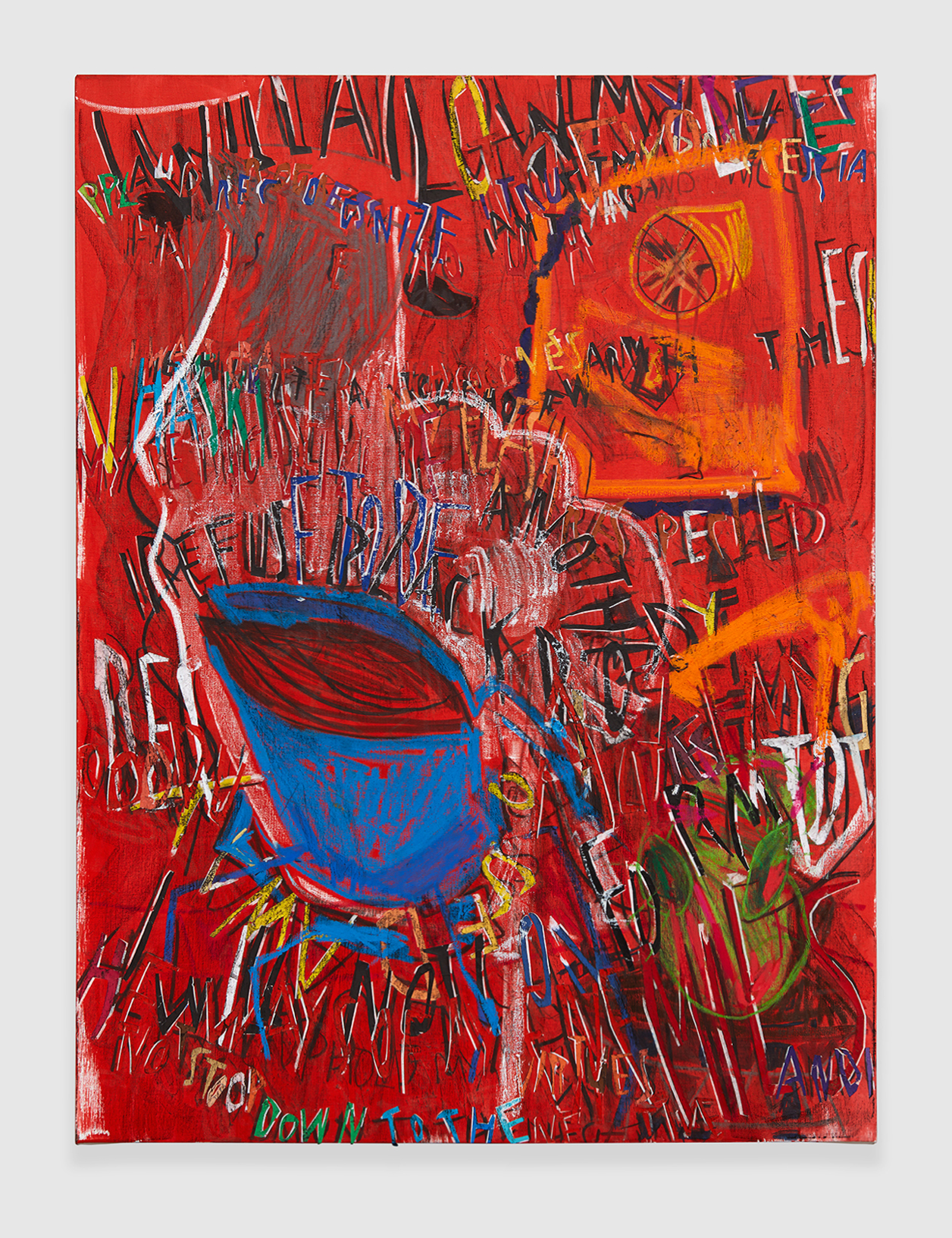 RGB Affirmations (Red) , 2018 crylic, marker, oil stick, oil, charcoal and paper collage on linen 48 x 36 in - 121,9 x 91,4 cm