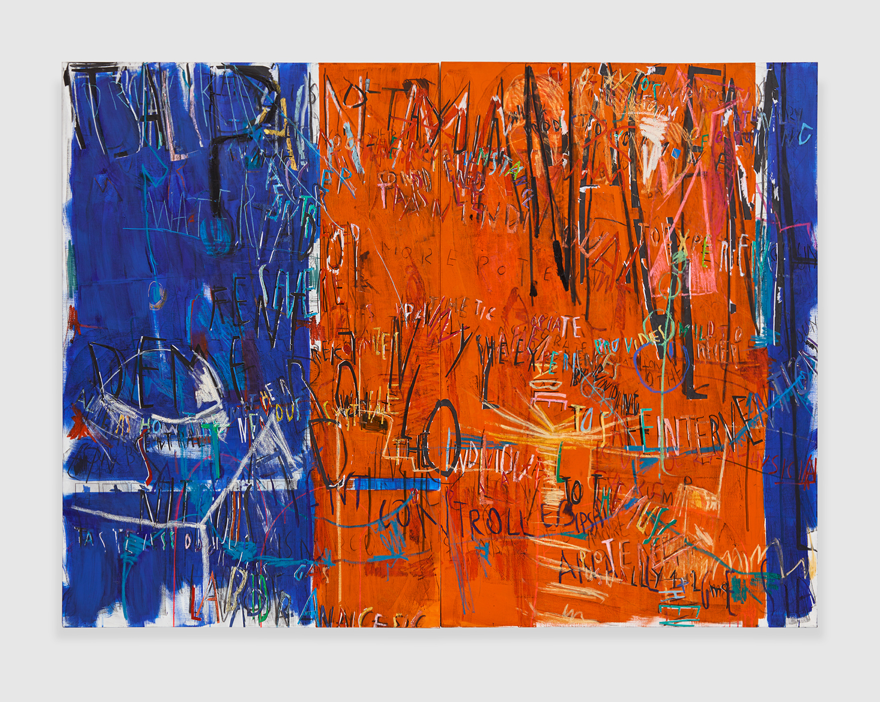 """""""It Is All Pain Management"""" , 2018 acrylic, marker, oil stick, oil, charcoal and paper collage on linen, diptych 72 x 48 in -182,9 x 121,9 cm"""
