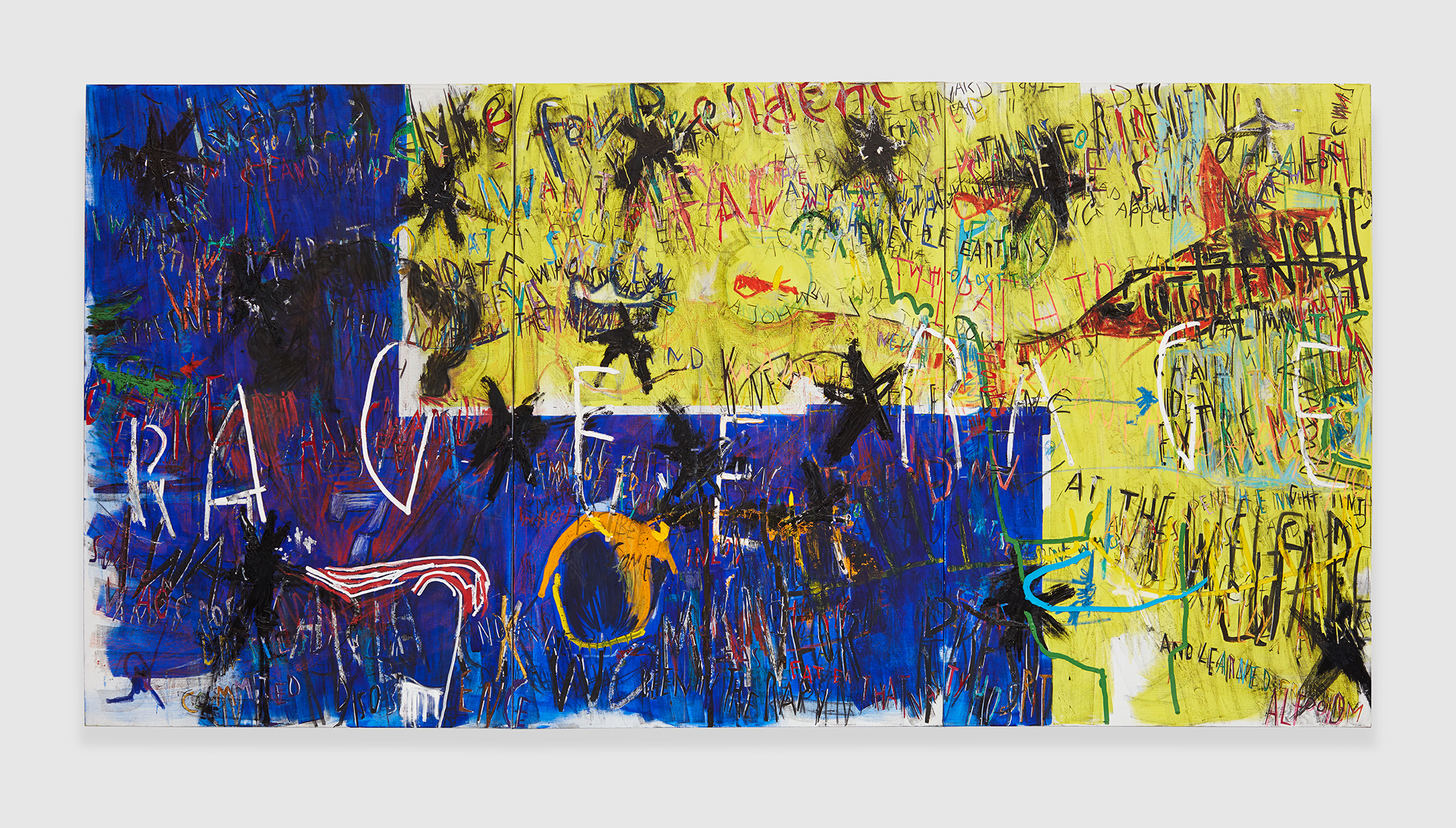 """""""I want a dyke for President (Zoe Leonard 1992)""""  , 2018 acrylic, marker, oil stick, oil, charcoal and paper collage on linen, triptych 72 x 48 in -182,9 x 121,9 cm"""