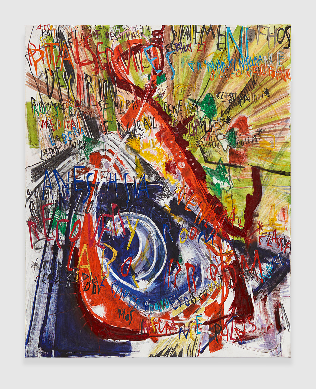 The Birthing Bill , 2018 acrylic, marker, oil stick, oil, charcoal and paper collage on linen 72 x 60 in - 182,9 x 152,4 cm