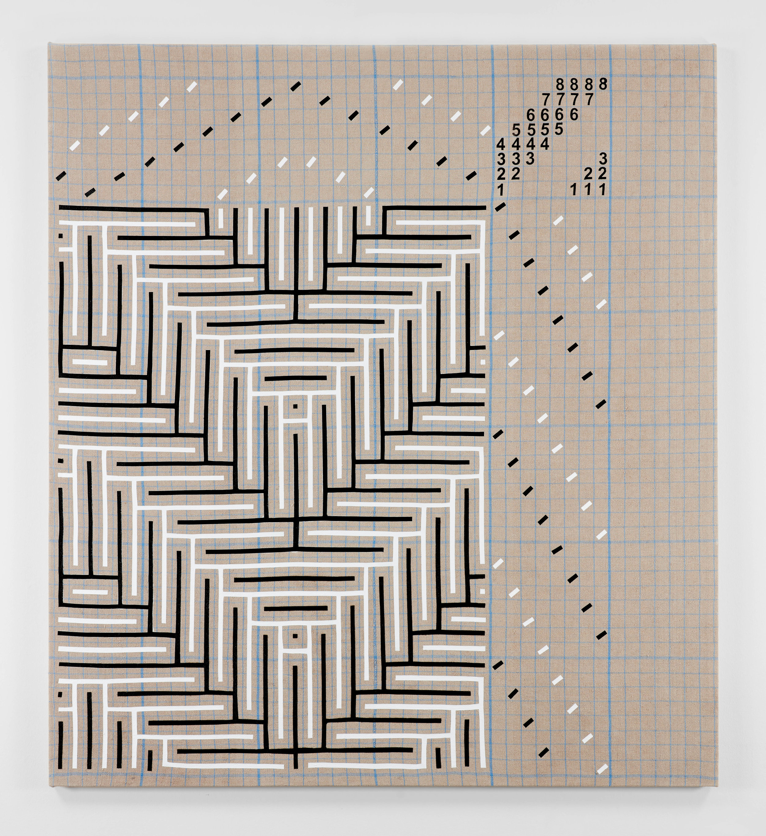 Black and White Shadow Weave Draft Graph, 2016  acrylic on plain weave woven 16/2 linen  82 x 74 in (208,3 x 188 cm)