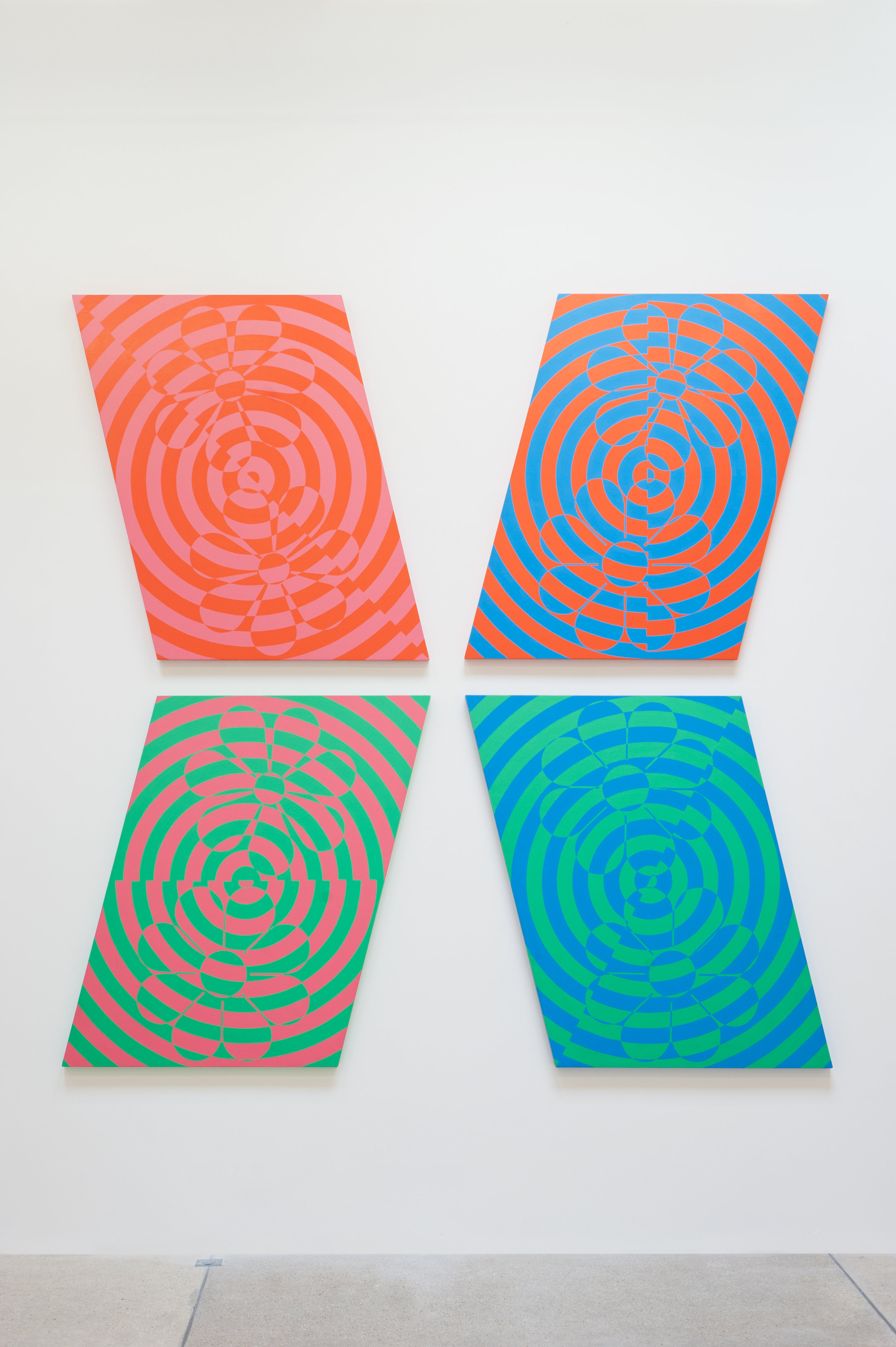 Untitled (Flower Painting) (0986A, B, C, D), 1986 enamel on wood 122 x 91,5 cm - 48 x 36 inches (each)