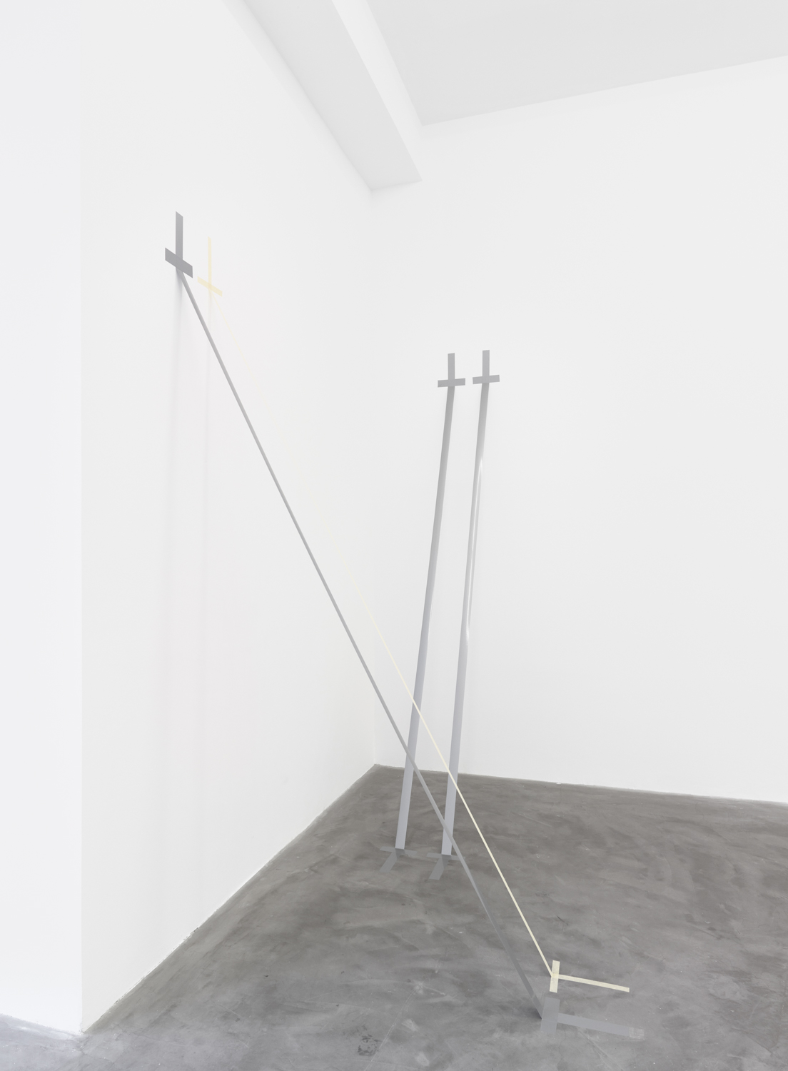 Tensegrity, 2018 duct tape and paper tape installation Dimensions Variable