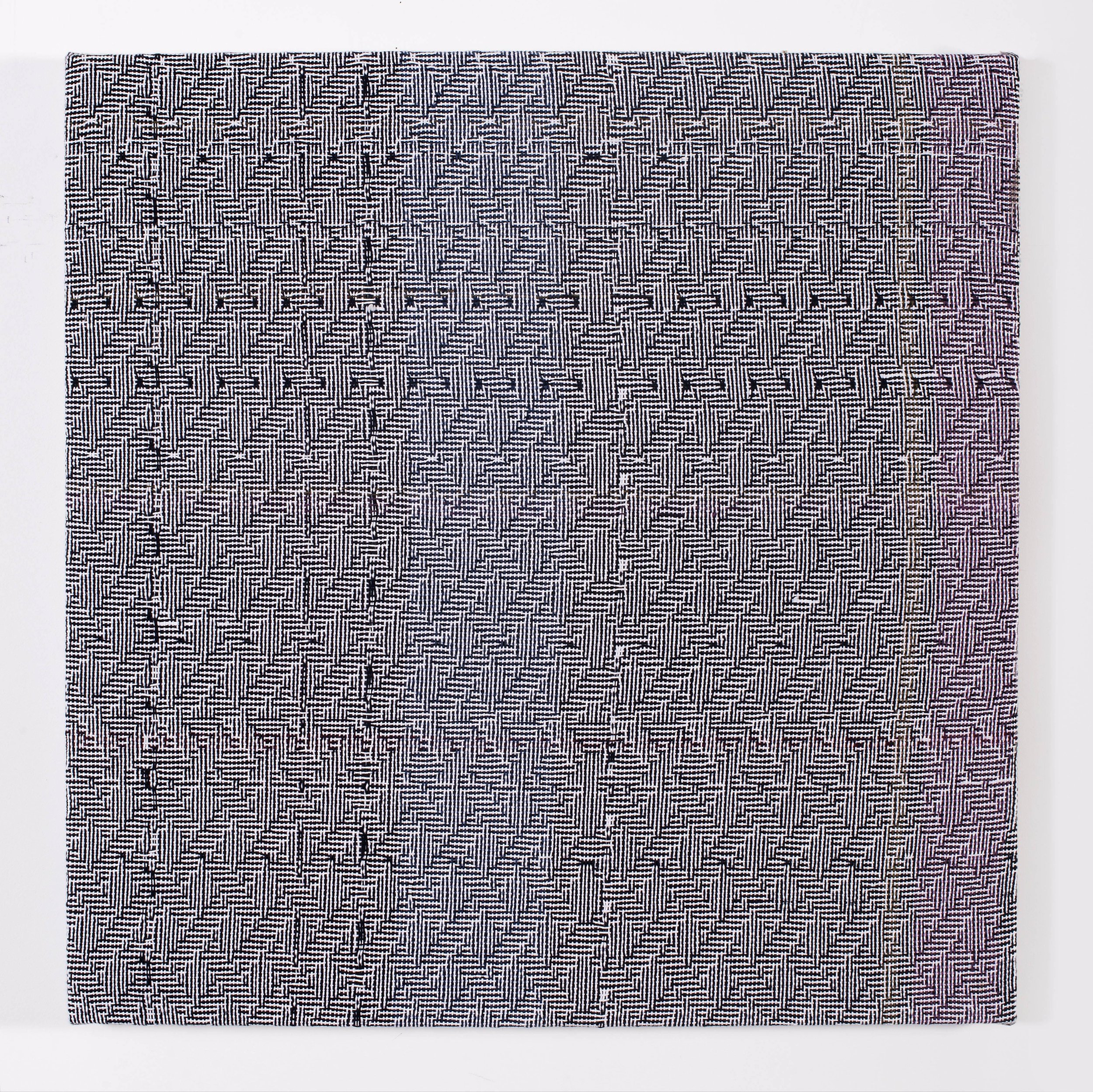 Heather Cook Shadow Weave Black (13) + White (14) 8/4 Cotton 15 EPI, 2015 acrylic on 8/4 cotton yarn and muslin 30 x 29 1/2 in (76,2 x 74,9 cm)