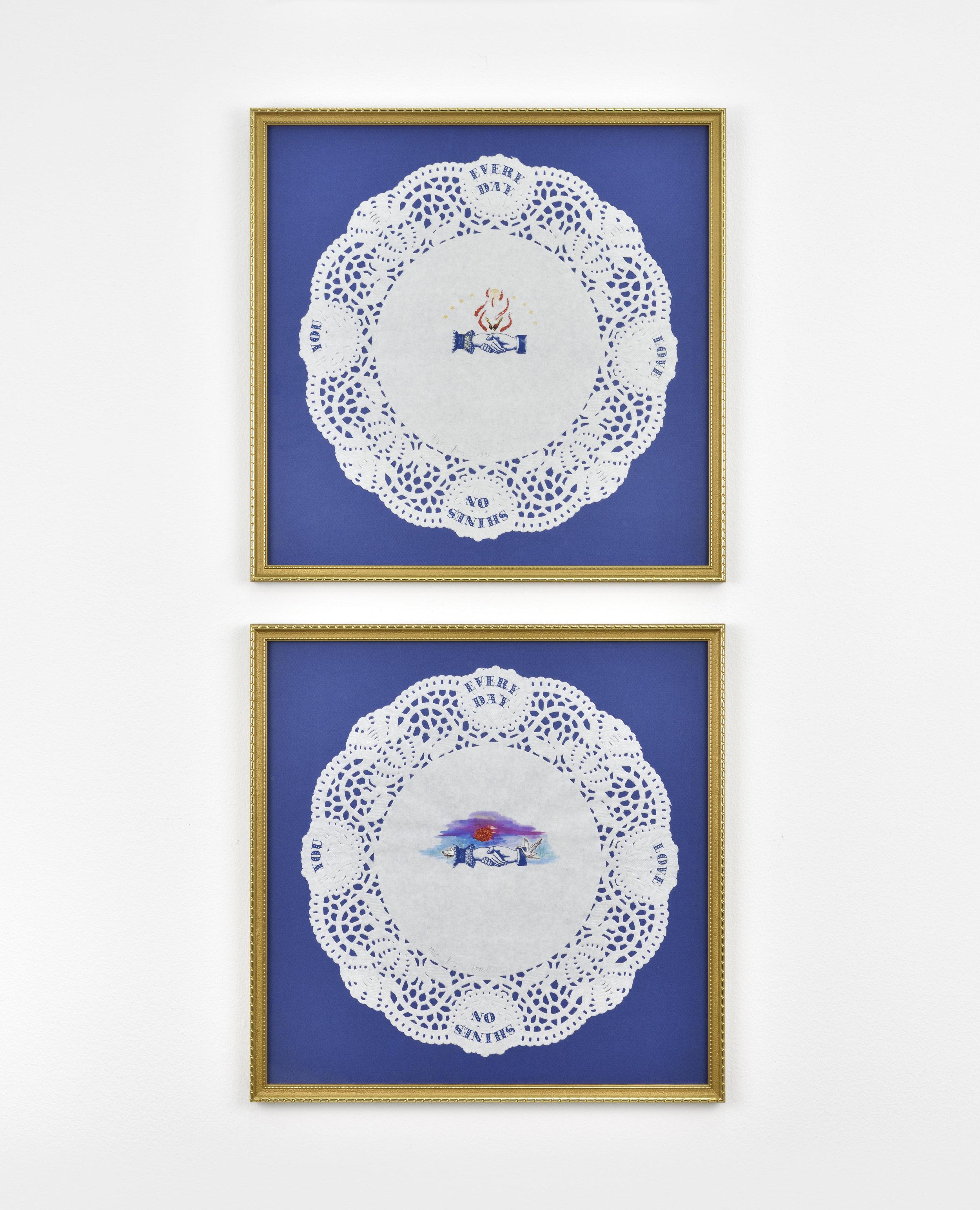 Françoise Quardon Untitled, 1991 lace paper placemat, watercolour drawing 14 9/16 x 14 9/16 in (37 x 37 cm)