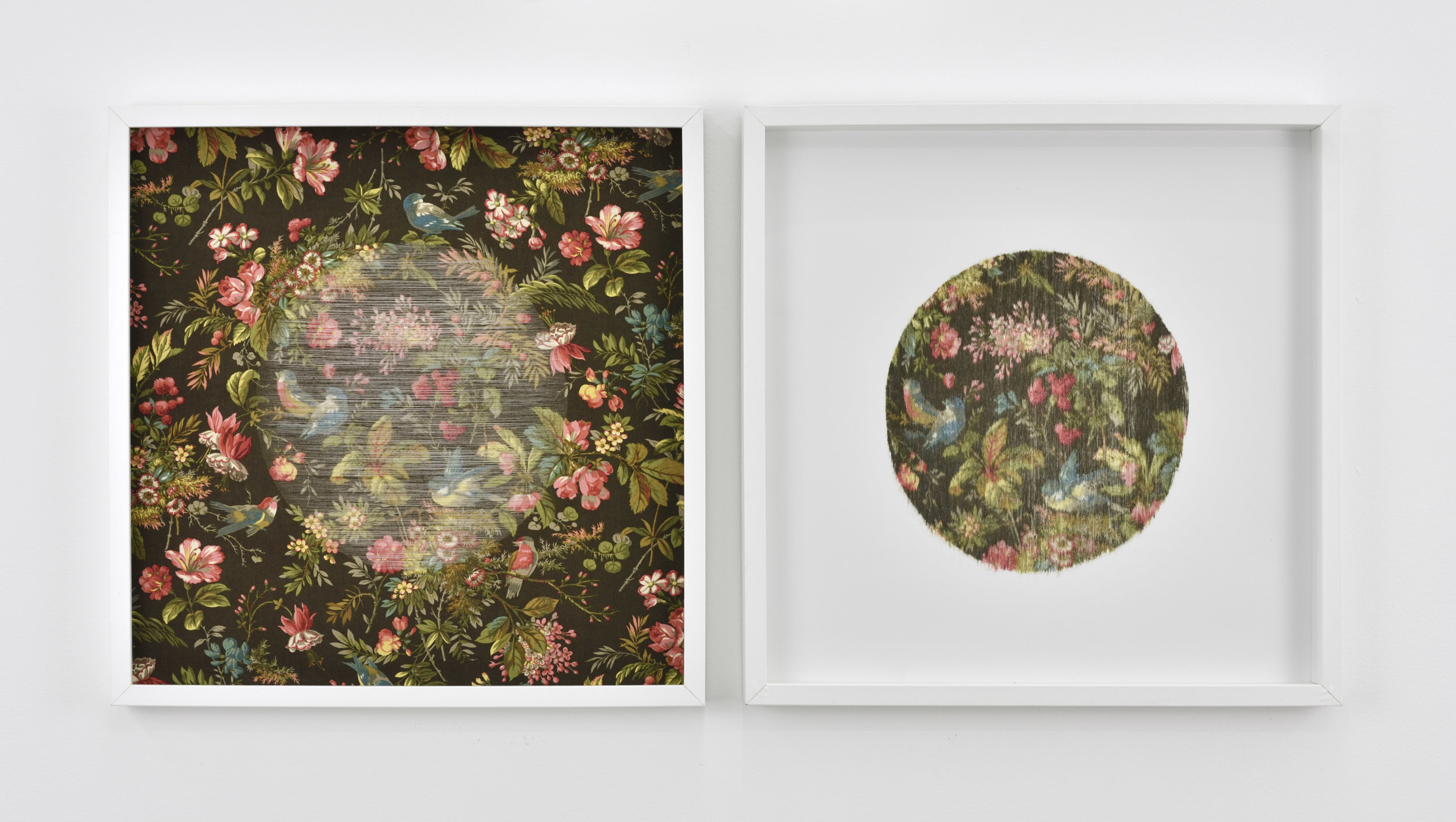 Golnaz Payani Double-cercle, 2018 fabric, paper, wood and glass 19 11/16 x 19 11/16 in (each) (50 x 50 cm)