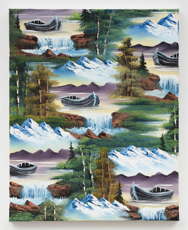 Neil Raitt   Rowboat Waterfall , 2018 oil on canvas 19 5/8 x 15 3/4 in - 50 x 40 cm