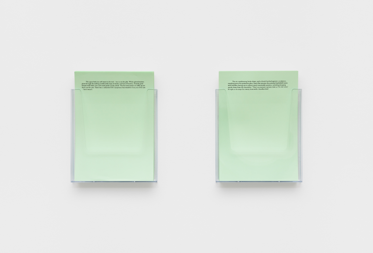 Bonobos , 2018 prose montage on coloured paper, Perspex holders 11 3/16 x 33 27/32 in  (30 x 86 cm)