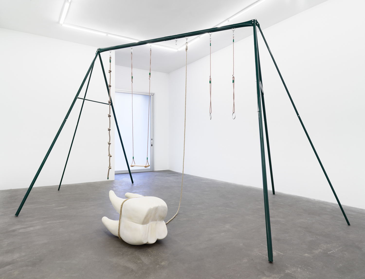 Ohlala , 2013  playground swing set, tooth sculpture  450 x 350 x 600 cm - 177 5/32 x 137 25/32 x 236 7/32 in