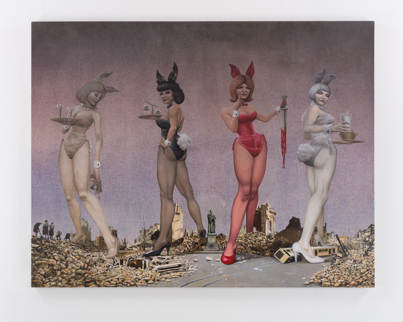 Four Playboy Bunnies of the Apocalypse , 2019  acrylic on muslin 48 x 62 in (121,9 x 157,5 cm)