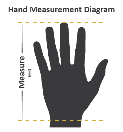Measure from the top of the middle finger to the base of the hand (mm).