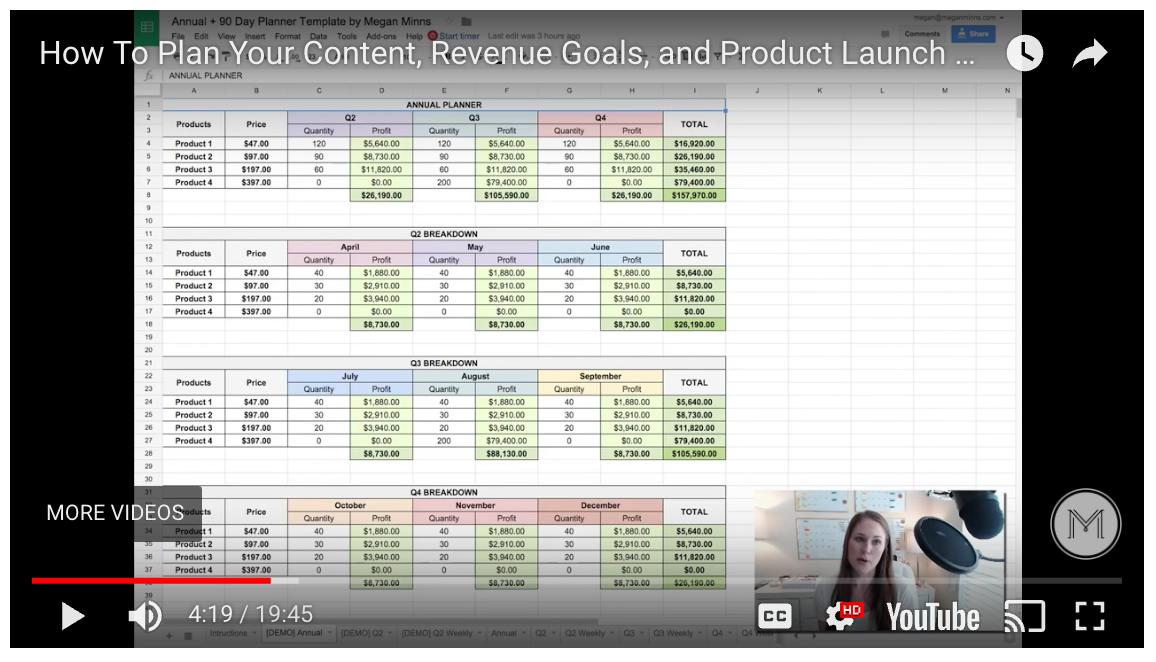 Megan Minns Spreadsheet Video Example