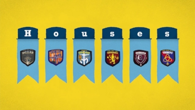 All six houses are represented by their own shield.  photo by moeller.org