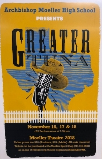 Moeller's advertisement poster for Greater Tuna  Photo by Tanner Hughes