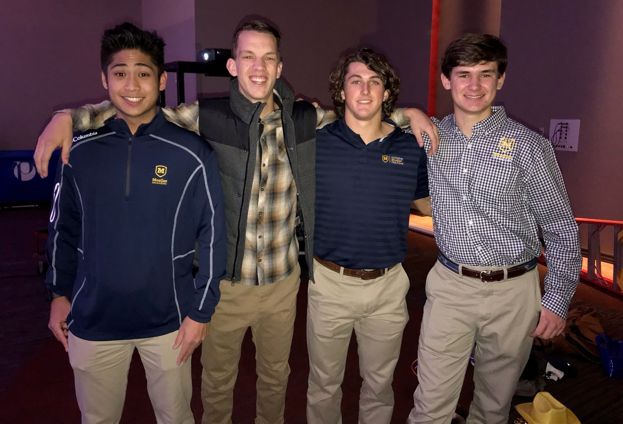 From Left to Right: seniors Andy Garcia, Mitchel McKenzie, Joseph Craft, and Adam Shimala at the fashion show  Photo Creds: Meghan Shimala