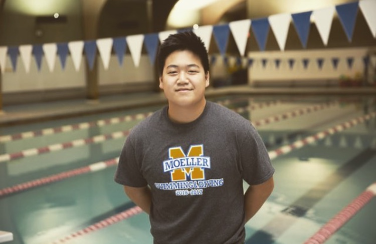 A photo of Ben Choi in front of Moeller's home pool  From: Ben Choi