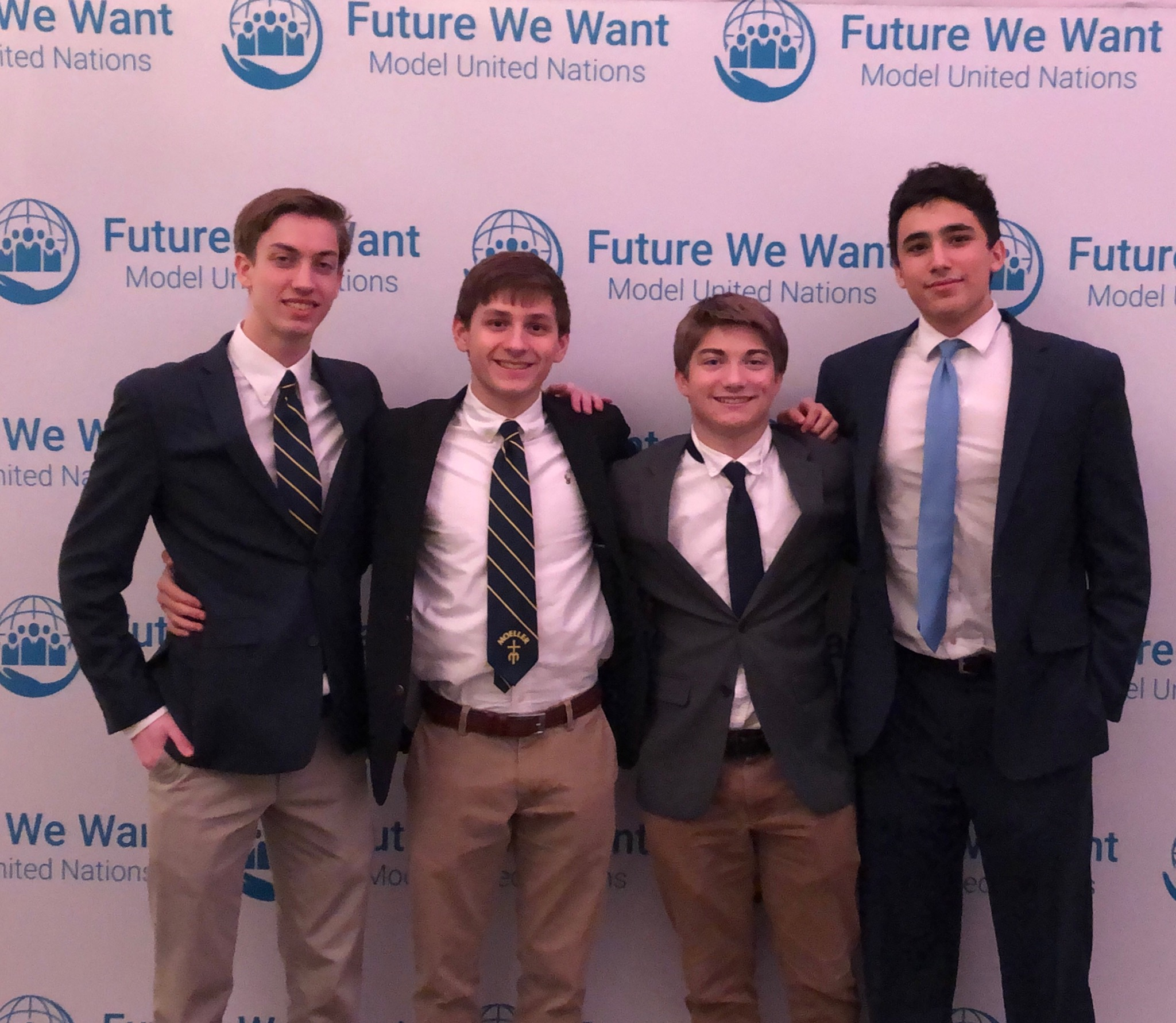 The Seniors who attended the FWWMUN Conference: (From the left: Jonathan Buck, Emerson Amongero, Greyson Wesley, Daniel Chaves) (Photo Credit: Jennifer Boggess)