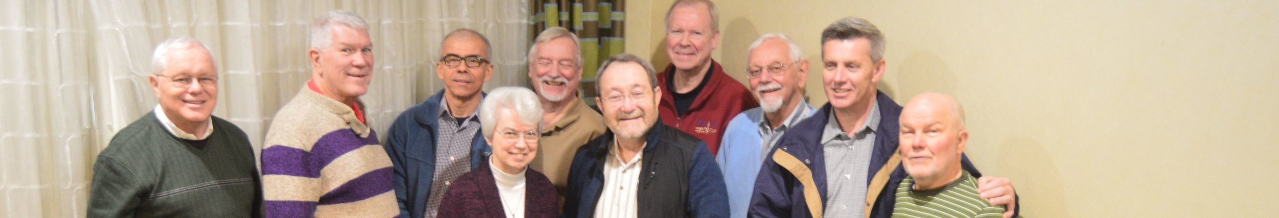 Leadership team members meeting in St. Louis: Peter Daly;  Greg Barras, newly elected vice-chair;  Tulio Ramirez; Sister Jackie Doepker; Lee Bacchi, treasurer;  Kevin Clinton, chair;  Bill Spilly; Louis Arceneaux, CM; Aiden McAleenan;  Bob Bonnot, executive director.   Leadership team members not shown: Jim Kiesel; Clarence Williams, CPpS.