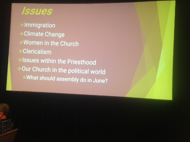 Participants in the 2019 Assembly of the Association of U.S. Catholic Priests are working Wednesday on six issues identified during the assembly Tuesday.  The issues are: Immigration, Climate Change, Women in the Church, Clericalism, Issues within the Priesthood, and Our Church in the Political World – Preparing the Voice of the AUSCP for our Next Assembly in June.