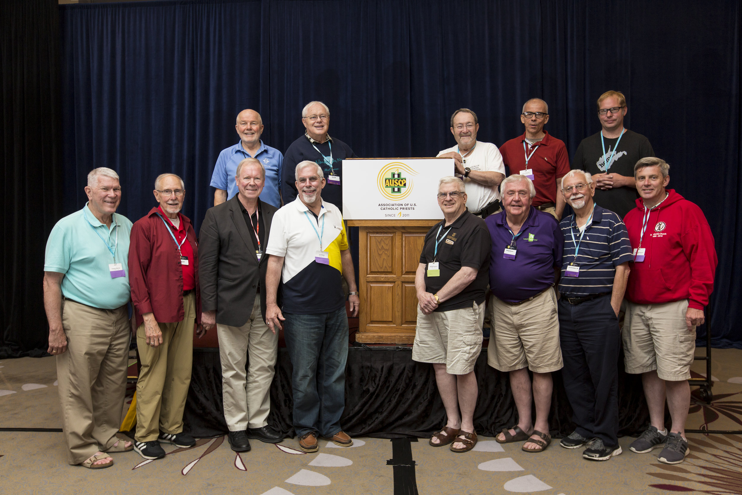 AUSCP Leadership: Front row, from left, Greg Barras, Diocese of Biloxi, Chair; Ray Cole, Diocese of Metuchen; Bill Spilly, Diocese of Rochester, Vice Chair; Jim Kiesel, Archdiocese of Baltimore, completing two terms; Stephen Newton, Congregation of the Holy Cross, Notre Dame; Michael Bausch, Diocese of Rochester; Louis Arceneaux, Congregation of the Mission, New Orleans, Secretary; Aiden McAleenan, Diocese of Oakland; top row, Bob Bonnot, Diocese of Youngstown, Executive Director; Peter Daly, Archdiocese of Washington,DC; Kevin Clinton, Archdiocese of St. Paul-Minneapolis, Chair Emeritus; Tulio Ramiez, Yarumal Missionaries, Bronx; Andy Switzer, Diocese of Wheeling-Charleston. Not in picture, Lee Bacchi, Diocese of Joliet, Treasurer.