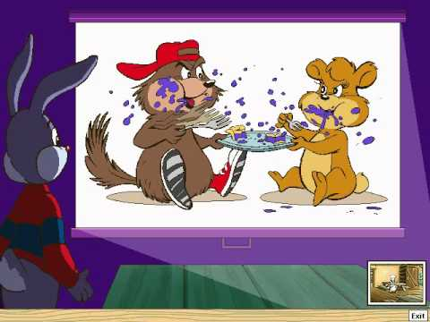 Reader Rabbit looks on in horror as a bear and an…animal annihilate a slice of pie.